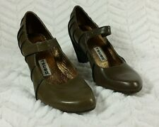 Tsubo Womens 6 Anush Olive Green Mary Jane Heel Pumps Brown Piping 6 M