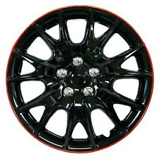 "Brand New Hub Caps Wheel Covers 15"" Black Chrome Red Lip Full Set"