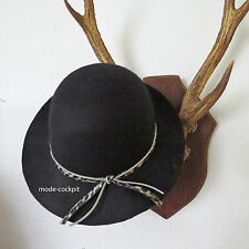 A-Zone   Designer Damen Hut Wolle schwarz 2 Bändchen Einheitsgröße 52-57