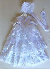 """WHITE Baptism Christening Communion Flower Girl Dress,Bonnet, Chest - 22"""", L 35"""""""