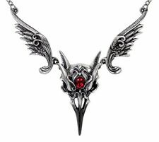 Ornate Masque Of The Black Rose Winged Raven Skull Necklace Alchemy Gothic P798