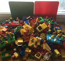 Lego Duplo 25 Pounds Lbs Lot With Figures, Animals, 2 Base Plates and More