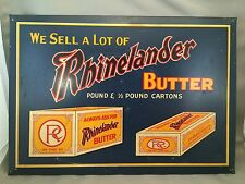 VINTAGE RHINELANDER BUTTER GENERAL COUNTRY STORE SIGN TIN DISPLAY ADVERTISING