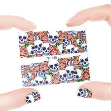 Nail Art Manicure Water Transfer Decal Stickers Flowers & Skull YB955