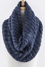 B146 Super Soft Navy Blue Knit Thick Winter Neck Warmer Infinity Scarf