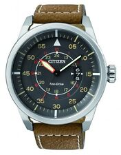 Citizen Eco-Drive Stainless Steel Mens Aviation Sports 100m  Watch AW1360-12H