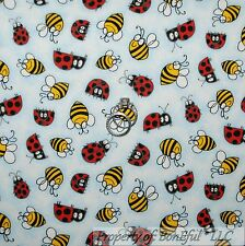 BonEful Fabric FQ Cotton Quilt Blue Black Red White B&W Bee Ladybug Stripe Dot S