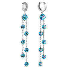 9.02 CTW 14K Solid White Gold Chandelier Earrings Blue Topaz