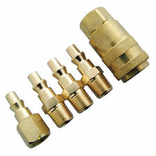 BRASS QUICK RELEASE AIR LINE COUPLER CONNECTOR SET FOR COMPRESSOR TOOLS 5PC SET