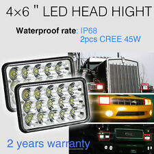 """4x6"" LED Headlights CREE Chip  for GMC Van Kenworth Jee  H4656  Sealed Beam"