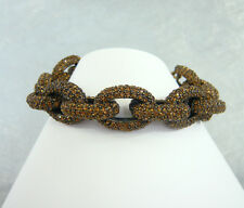 """NWT J. CREW CLASSIC PAVE CRYSTAL LINK BRACELET PLATED ROASTED ACORN 8""""L x 3/4""""W"""