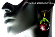 Fancy Big Red Cherry Fruit Leaf Leaves Drop Dangle Earrings Food Fashion Jewelry