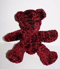 """MTY Int'l Burgundy Plush TEDDY BEAR 9"""" Soft Toy Stuffed Animal Bean Bag Tummy"""