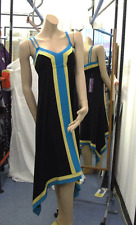 Joseph Ribkoff NWT 10 Exquisite Asymmetric Black Dress +Vivid Turquoise & Yellow