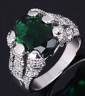 Jewelry Size 11 Luxury Emerald Cut Emerald 10KT Gold Filled Men's Wedding Ring