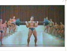 bodybuilder STEVE REEVES Curling Barbell Weights At Contest Muscle Photo Color