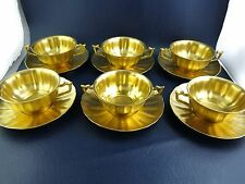 Beautiful Gold All Over Limoges Porcelain Cream Soup Bowls Saucers HEALEY CHRYSO