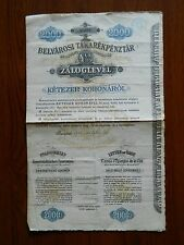 HUNGARY GOVERNMENT BOND stock certificate 1910, 2000 KORONA