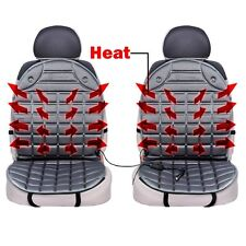 Zone Tech 2x Gray Car Heated Seat Cover Cushion Warmer 12V Heating Warmer Pad