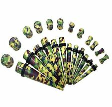 24 Piece Gauges Kit Camouflage Army Green Saddle Plug 6G-12mm Ear Stretching Kit