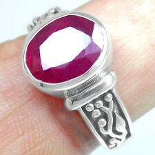 Top 6.56 Grams 925 Sterling Silver Natural Blood Red Ruby (GF) 8 US Ring Jewelry