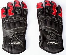 Guanti da PISTA per moto in vera pelle con protezioni rosso S M L XL XXL