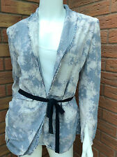BOLONGARO TREVOR BLUE & WHITE SEERSUCKER GASPARO JACKET SIZE XS (UK 8)