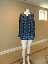 Laura Scott Women's plus Floral Print Tunic Long Sleeves Blue Size:3X New