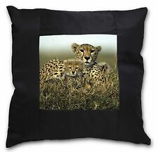 Cheetah and Cubs Black Border Satin Scatter Cushion Christmas Gift, AT-23-CSB