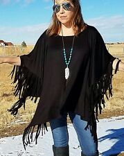 COWGIRL GYPSY BLACK  FRINGE PONCHO Southwest Top Western LARGE