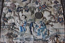 "Old Antique Hand Embroidered Chinese Delicate Blind Stitch Panel~23""L X 9""W"