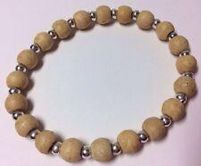 New Womens Light Wood Bead Bracelet Wristband Stretch Elasticated Silver Spacers
