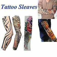 2 pair Wearable Arm Tattoo Skin Cover Sleeves For Style / Biking Sun Protection