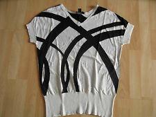 DKNY leichter Pullover ohne Arm Seide Kaschmir schwarz weiß Gr. P/XS w. NEU OA1