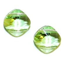 SCAX442f PERIDOT Green 14mm 2-Hole Faceted Square Swarovski Beads 12/pkg