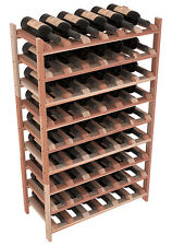 54 Bottle Stacking Wood Wine Rack in Premium Redwood. Easy DIY Wine Shelf.