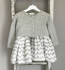 Baby Girl Next Dress & Cardigan Outfit Size 3-6 Months Grey White Chevron Party