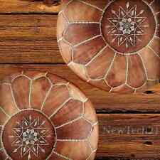2x moroccan pouf Leather Ottoman Footstool Handmade tan & white Crafted and Home