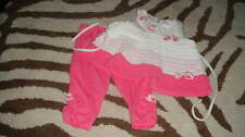 BOUTIQUE ISOBELLA & CHLOE 12M 12 MONTHS PINK AND WHITE RUFFLED TOP CAPRI SET
