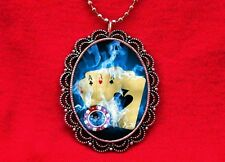 4 OF A KIND ACES CARDS POKER CHIPS FLAMES BLUE NECKLACE