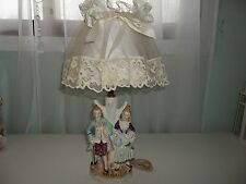 Vintage Victorian Couple Man & Woman Figurine Japan Table Lamp w/Shade #2