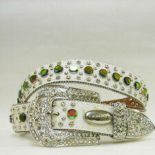 XS S  or M Cream White Rainbow Rhinestone Row Western Buckle Cowgirl Rodeo Belt