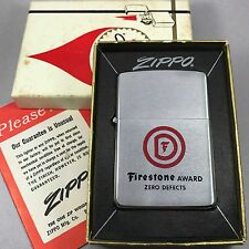1968 Brushed Chrome Vintage Zippo Lighter - Firestone Award - New & Unfired!