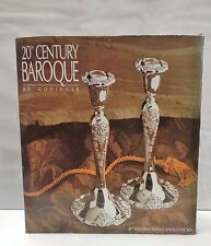"""Godinger 20th Century Baroque Silver Plated 8"""" 2 Candlesticks # 5077 NEW vintage"""