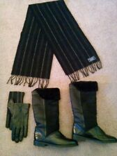 Great LOT of LA CANADIENNE Kosmo Black Lined Leather Boots, SCARF & GLOVES
