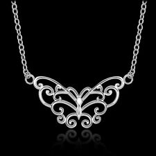 Silver Plated 925 Butterfly Intricate Swirl Solid Animal Pendant Necklace. 1304