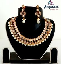 Bollywood Style Bridal Kundan Necklace Set-Gold Plated Pearl Jewellery-JWOG189