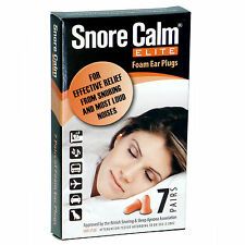 SNORE CALM ELITE FOAM EAR PLUGS 7 Pairs 37dB NNR for Sleeping Snoring FREE UK PP