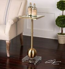 Brushed Brass Accent Side Table|Slim Gold Metal