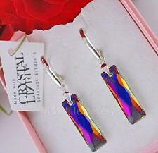 EARRINGS SWAROVSKI ELEMENTS QUEEN BAGUETTE VOLCANO AB 25mm STERLING SILVER 925